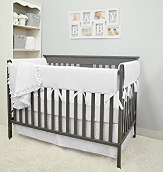 American Baby Company Heavenly Soft 6 Piece Crib Rail Bedding Set White for Boys and Girls