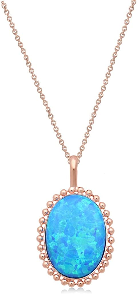 """Jewelili Miami Mall Sterling Max 61% OFF Silver Created Oval Pendant Necklace 18"""" Opal"""
