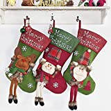 Christmas Stocking, 18' Personalized Xmas Stockings Set of 3 with 3D Snowflake Santa, Snowman, Reindeer, Classic Stocking Decorations for Xmas Tree Holiday Family Party (Style 3)
