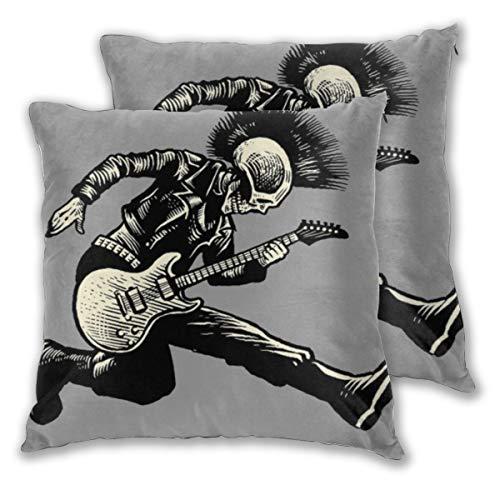 ELIENONO Juego de 2 Decorativo Funda de Cojín Street Rock Skull Punk Guitarrista Vintage Act Music Skeleton Chaqueta Guitarra de Cuero Funda de Almohada Cuadrado para Sofá Cama Decoración para Hogar