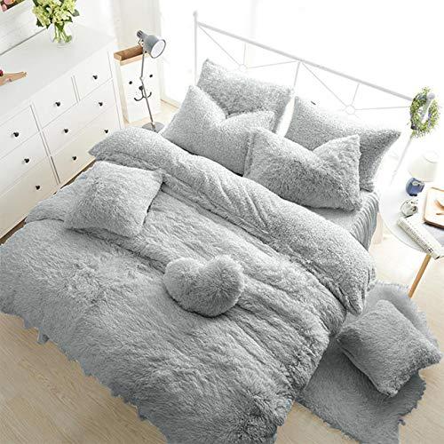 Teddy Bear Fleece Fitted Sheet Plain Thermal Winter Warm Soft Sherpa Cozy Bed Linen Bedding EXTRA DEEP 30CM SNUG FIT 12' inch Mattress Depth (LIGHT Silver Grey, Super King 12'/30cm Fitted Sheet)