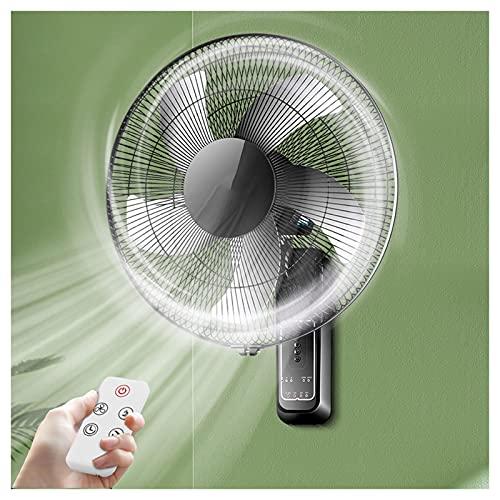 YSJX Ventilador Ultra Potente,Ventilador de Pared con Mando a Distancia,silencioso,3 velocidades de ventilación,con Temporizador,Negro,60W,para Oficina doméstica (Size : 16inch)