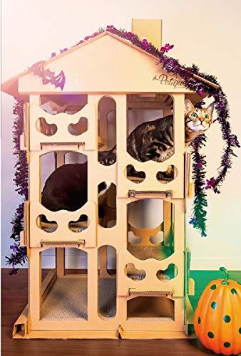 Petique キャットタワー アウトレット[ キャットハウス/据え置き型 : 大型猫対応 ] 高圧縮紙ダンボール素材で頑丈 簡単組立 多頭対応 おしゃれ 爪磨き 爪とぎ 猫 おもちゃ 米ブランド