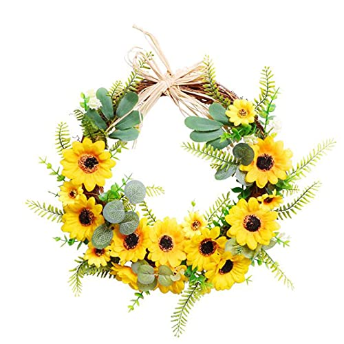 Kesio Artificial Eucalyptus Green Leaf Wreath, Spring Summer Indoor Outdoor Green Wreath for Front Door Wall Window Festival Wedding Party Home Wall Decoration (C#17.7x17.7 Inch)