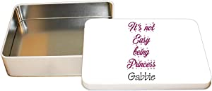 """Personalized Custom Text Girly It's Not Easy Being Princess Aluminun Trinket Box Metal Tin - 6""""x8"""""""