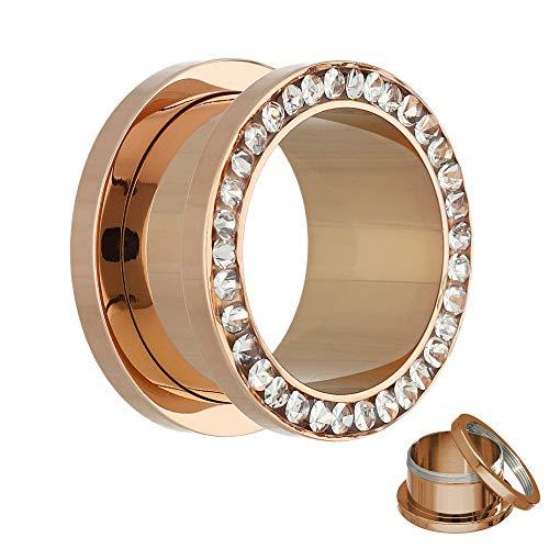Treuheld®   8mm Kristall Ohr Flesh Tunnel   Rosé Gold mit transparenten Zirkonia Steinen   Chirurgenstahl   Gewinde Schraubverschluss   Damen