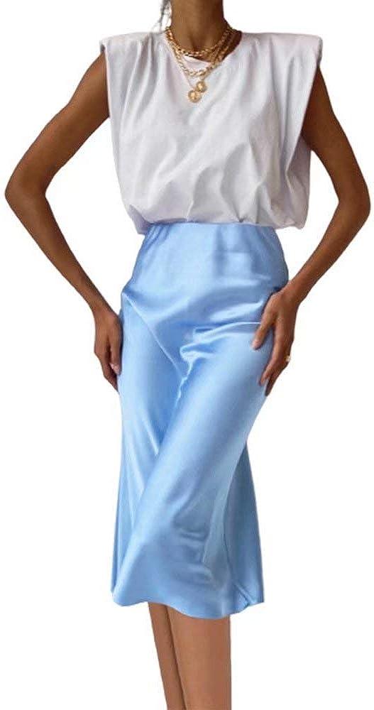 JIURI Women's Women's Satin Party Midi Skirt Silky Aline Elegant Wear to Work Wedding Cocktail High Waist Bodycon Slip Skirt
