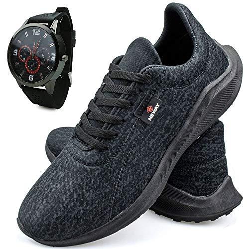 Tênis Caminhada Neway Masculino Preto + Relógio
