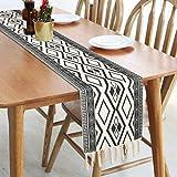 Bateruni Geometrisch Tischläufer, Grau Modern Schwarz Weiß Tischwäsche Matte, Faltenfrei rutschfest Tischband Dekoration für Esszimmer Party Urlaub 35x180cm - 3