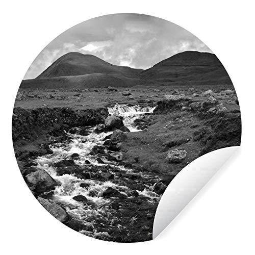 Muursticker Ecuador – Rivier door het landschap in Ecuador – zwart-wit – Ø 120 cm – rond schilderij – behangcirkel…