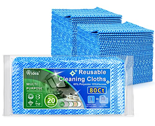 AIDEA Cleaning Wipes-80Ct(1 Pack), Multi-Purpose Towel Reusable Cleaning Cloths, Domestic Cleaning...
