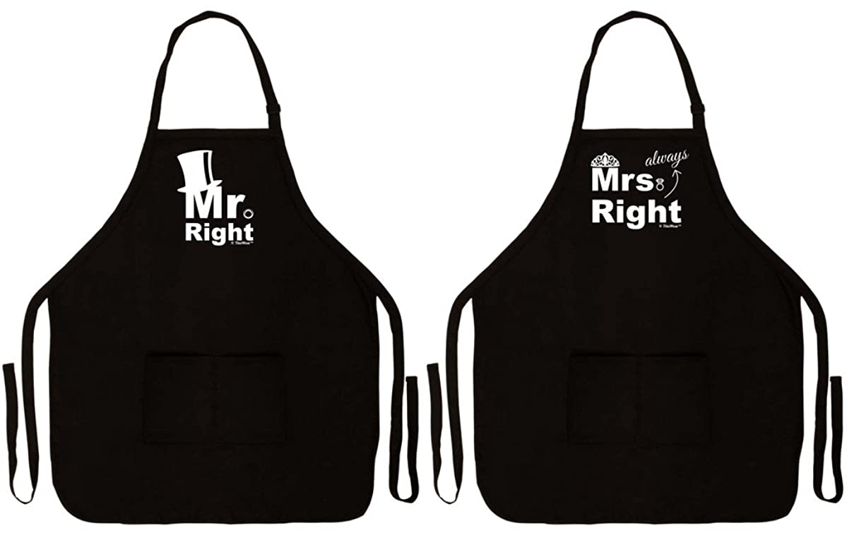Wedding Gift Mr Mrs Always Right Couples Apron for Cooking Baking Two Pocket Apron for Couple Black