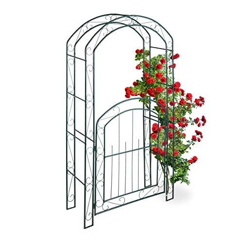 Relaxdays Arco per Rose con Cancelletto, Sostegno per Rampicanti, in Metallo, Resistente, HLP 215x115x43 cm, Verde Scuro