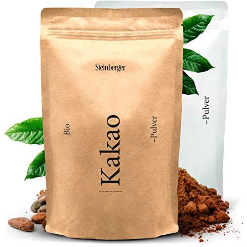 Premium BIO Kakaopulver von Steinberger | ungesüßter Rohkakao zum Verfeinern von Süßspeisen | 500g im wiederverschließbaren Aromapack