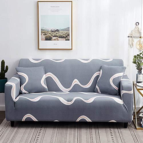 ASCV Funda de sofá de línea Irregular Funda de sofá elástica de algodón Fundas de sofá elásticas para Sala de Estar A8 3 plazas