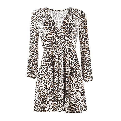 BHYDRY Frauen Leopard Print Sexy Wickelkleid V-Ausschnitt Langarm Party Club Mini Tee Kleid(EU-34/CN-S,Khaki)