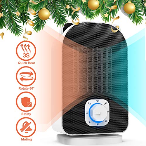 Plustore Space Heater, 110V Mini Electric Ceramic Heater, 5W/650W/1500W Portable Indoor Heater for Home Office, Hot Cool Fan with Adjustable Thermostat, Rotates 60°, Best Gift for Winter Ceramic Heater Space