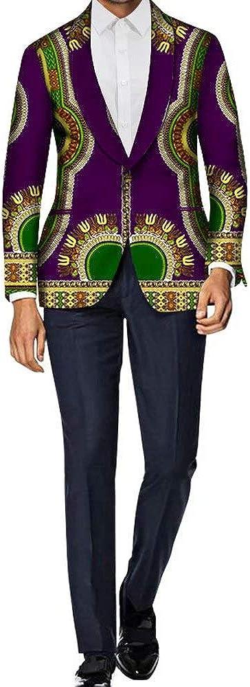 ELISCO African Mens Retro Big Blazer Floral Slim Real Wax Print Jacket