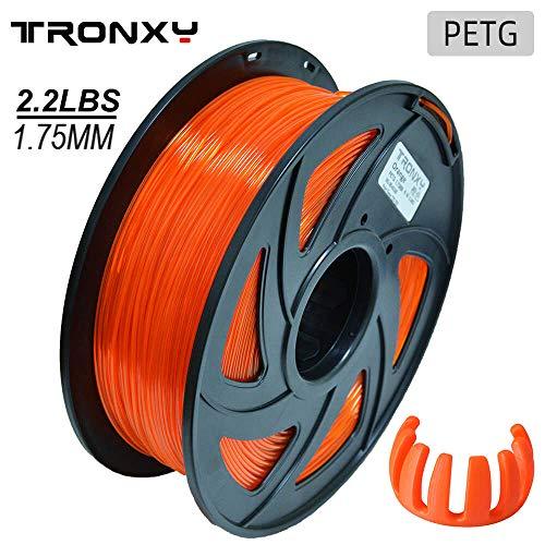 PETG 3D Drucker Filament 1,75 mm, Durchmessertoleranz +/- 0,05 mm, 1 KG (2,2 lbs) Spule, 1,75 mm PETG Filament für 3D-Drucker (Transparent Orange)