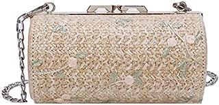 TOOGOO Fashion Handmade Rattan Woven Straw Bag Summer Beach Bags for Women Messenger Crossbody Bags Beige
