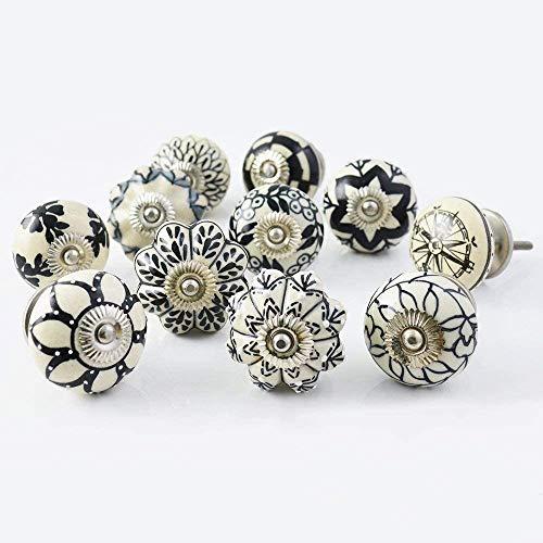 Tiradores de cerámica Pushpacrafts para muebles (12 unidades), color blanco y negro