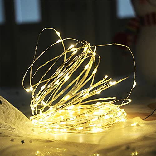 DINOWIN Paquete de 10 luces de hadas con pilas de 6.56 pies, 20 micro LED de alambre plateado luces de Navidad DIY decorativas mini luces para tarros de boda fiesta Festival (blanco cálido)