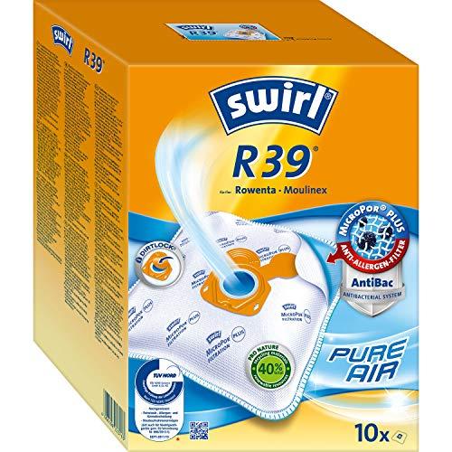 Swirl R39 MicroPor Plus Staubsaugerbeutel für Rowenta und Moulinex Staubsauger 10er Pack, 10 Stück + 2 Filter