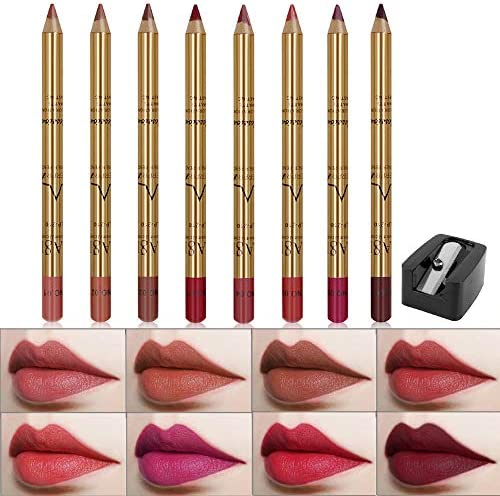 Wismee 8 Colors Lip Liner Pencil Set Professional Matte Lipliner Pencil with Sharpener Waterproof product image