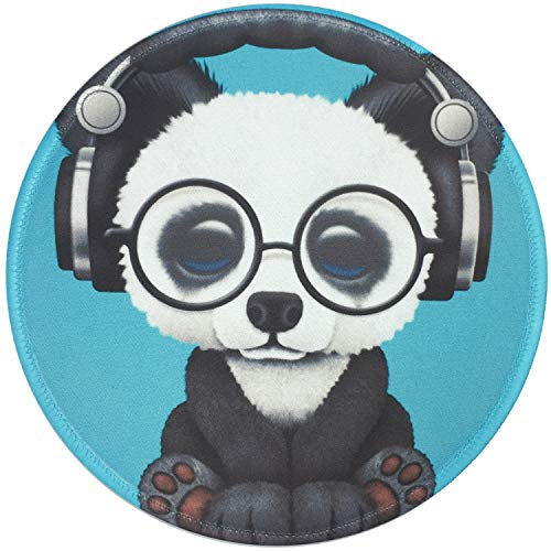 Mouse Pad Green Headset Music Panda Pattern Mousepad Non-Slip Rubber Base Mousepad with Stitched Edge, Gaming Round Mouse Pads for Computers Laptop, 7.87 x 7.87 Inch