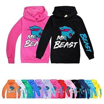 Mr Beast Lightning Cat Boys Girls Hoodie Long Sleeve Printing Hooded Sweatshirt Novelty Pullover ForToddler Baby  Black,140cm