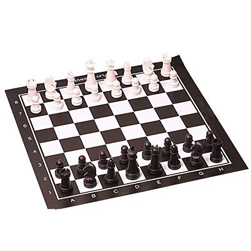 XWZJY Juego de ajedrez Tablero de ajedrez Enrollable Combinado con Bolsa de Viaje Juego de ajedrez Tradicional para Adultos Niños Principiante Tablero de ajedrez Grande Regalo