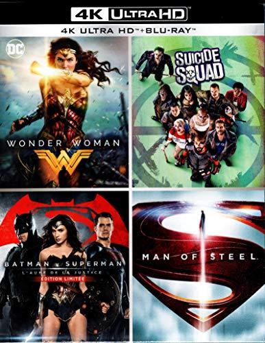 Coffret DC Comics Edition spéciale Fnac Blu-ray 4K Ultra HD - Wonder Woman + Suicide Squad + Batman v Superman : L'Aube de la justice + Man of Steel