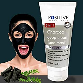 Positive 3 In 1 Activated Charcoal (Deep Clean) Peel Off Mask For Men & Woman, 60 ml