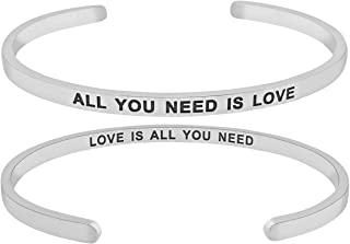 `All You Need is Love, Love is All You Need`` Mantra Quote Engraved Cuff Positive Message Bracelet, Jewelry Gifts for Women