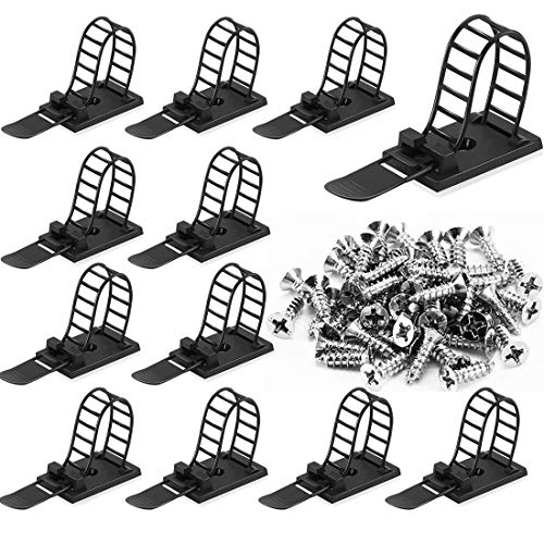 50Pcs Adhesive Cable Management Ties Extra Screw & Hole, Multi-Purpose Wire Organizer Adjustable Nylon Cable Straps Cord Holders for Home and Office Desk Organization
