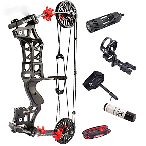 1Set 30-60lbs Archery M109E Compound Bow Steel Ball Bowfishing Bow IBO 320FPS Right Hand /Left Hand Shooting Hunting Accessories (setA)