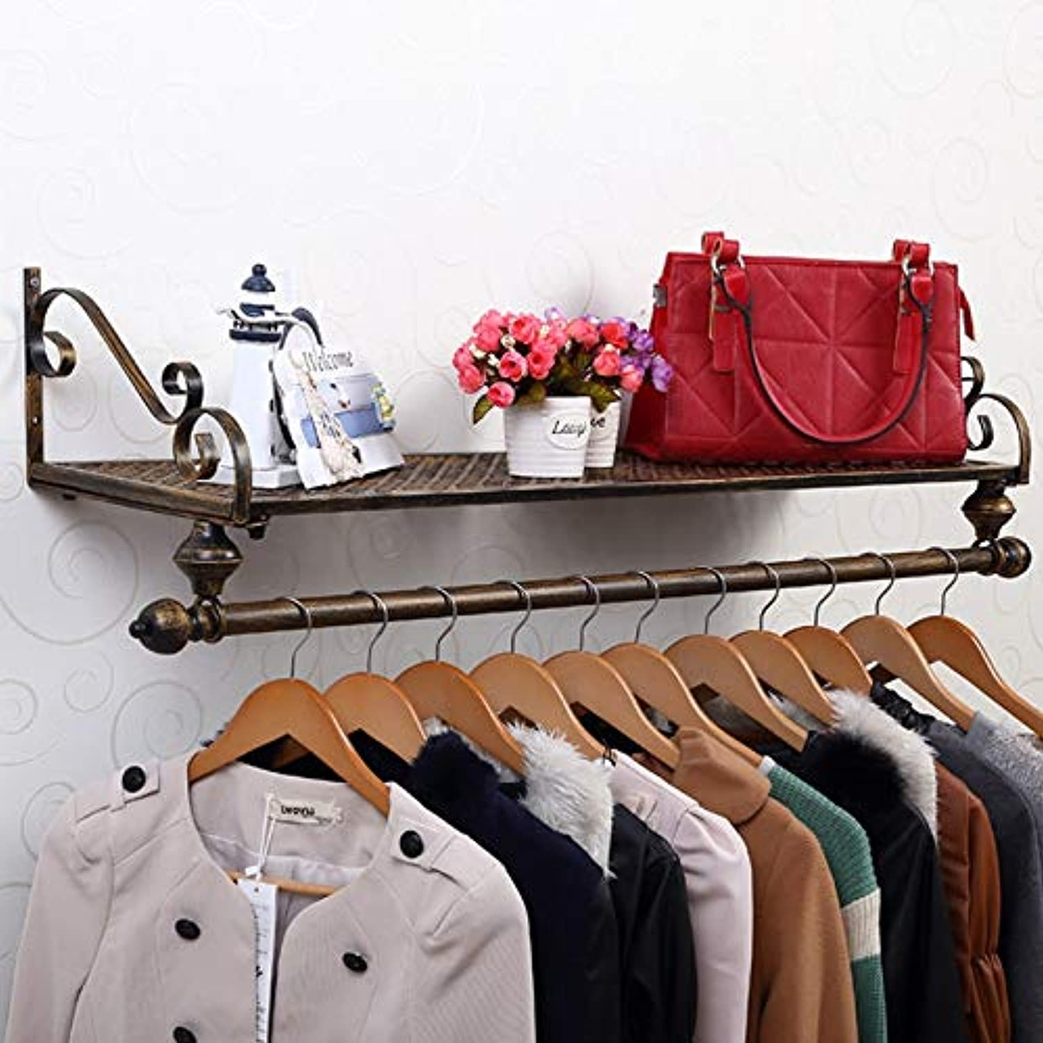 WFFXLL Iron Coat Rack Garment Hanger Wall Mounted, Single Rail Clothes Holder and Storage Floating Shelf for Entryway Hallway Bedroom Bathroom Coat Rack (color   Bronze, Size   100x28cm)