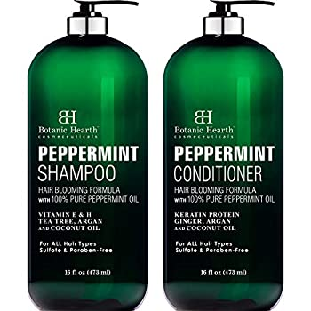 BOTANIC HEARTH Peppermint Oil Shampoo and Conditioner Set - Hair Blooming Formula with Keratin for Thinning Hair - Fights Hair Loss Promotes Hair Growth-Sulfate Free for Men and Women - 16 fl oz x 2