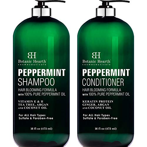 BOTANIC HEARTH Peppermint Oil Shampoo and Conditioner Set  Hair Blooming Formula with Keratin for Thinning Hair  Fights Hair Loss Promotes Hair GrowthSulfate Free for Men and Women  16 fl oz x 2
