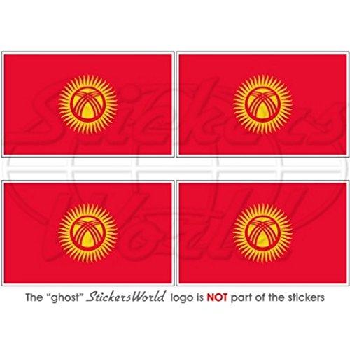 Kirghizistan Drapeau kirghize 5,1 cm (50 mm) bumper-helmet en vinyle autocollants, Stickers x4