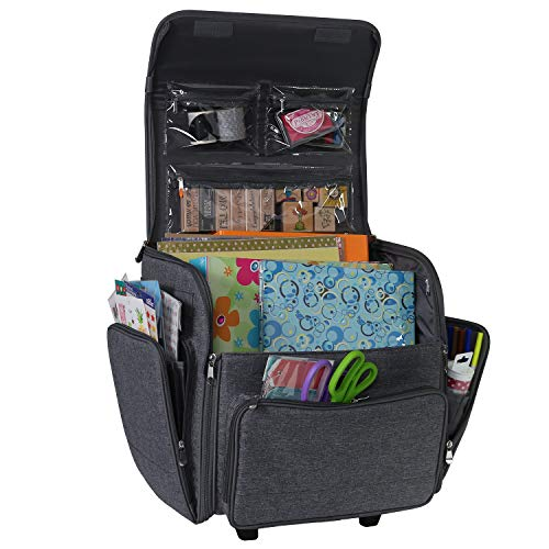 Everything Mary Deluxe Rolling Craft Case, Heather - Papercraft Scrapbook Tote Bag w/Wheels for Scrapbooking & Art - Travel Organizer Storage for IRIS Boxes - for Teachers & Medical