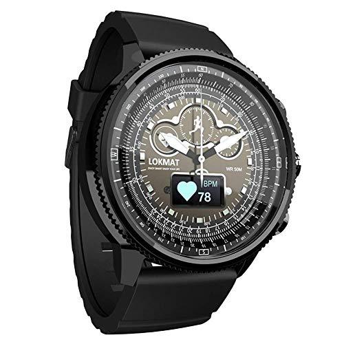 YLKCU Relojes para Hombre Cronógrafo Deportivo Reloj de Pulsera de Cuarzo a Prueba de Agua con Control de frecuencia cardíaca Podómetro de calorías Cronómetro Relojes Inteligentes con Bl
