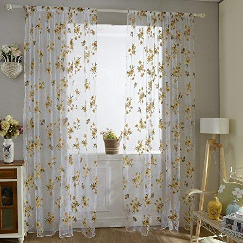 Norbi Fresh Floral Print Tulle Voile Door Window ROM Curtain Drape Panel Sheer Scarf Valances (Yellow)