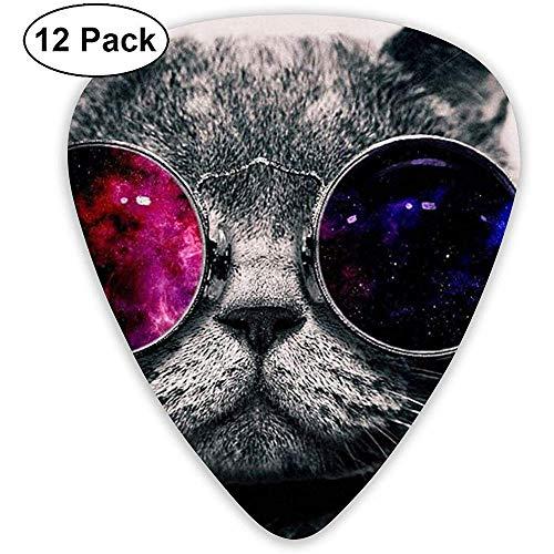 Cat Wear zonnebril gitaar pick set gitaar bas mandoline ukelele 0,46 mm 0,71 mm 0,96 mm 12 pak gitaar picks plectrums houder