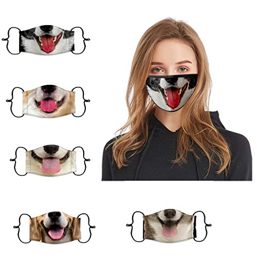 Bluego 5PC Adult Washable Reusable Funny Dog Printed Face Mask Dust-Proof and Windproof Breathable Comfortable and Soft Ear-Loop Mask Outdoor (Multicolor)