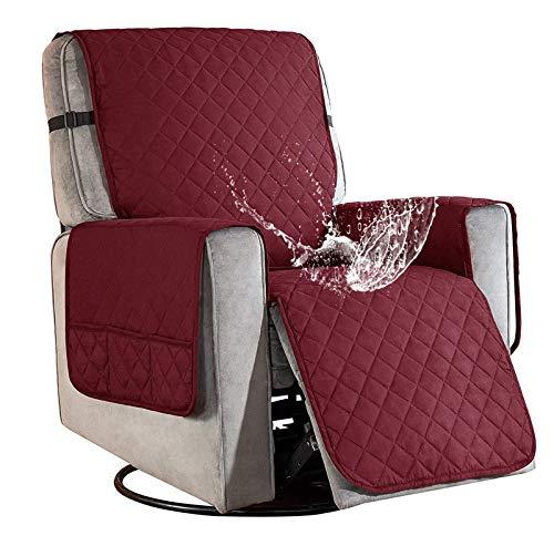 Sesselschoner für Fernsehsessel Relaxsessel, 1 Sitzer Sesselschoner mit Taschen Rot Sesselauflage Relaxsessel Sesselüberwurf Wasserdicht Sesselschutz Sofaüberwurf für Hunde Haustieren