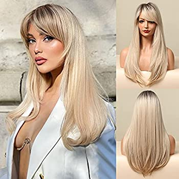 Honygebia Blonde Side Bangs Wig - Long Straight Side Part Wigs for White Women Ombre Dark Blonde Synthetic Heat Resistant Hair Natural Cute Wigs for Everyday/Party/Cosplay