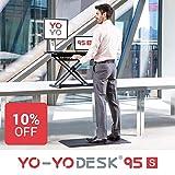 SCHLANKER SCHREIBTISCHAUFSATZ & GROSSE HÖHENAUSDEHNUNG: Unschlagbare Höhendifferenz für Steh-Sitzaufsätze: 11 - 50 cm (Schreibtischplatte), 0 - 39 cm (Tastatur) über der Schreibtischfläche. 40 cm Tischplattentiefe. Die geteilte Arbeitsplatte ist 95cm...