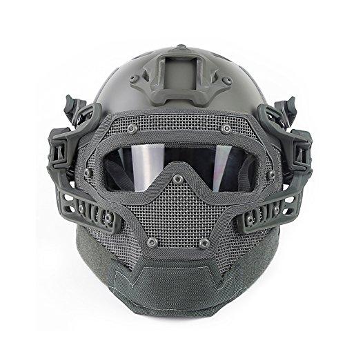 Casco táctico rápido PJ, máscara completa para airsoft, paintball, sistema de protección de malla Molle transpirable G4