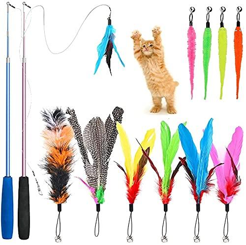 Caña para Gatos, 12 Piezas Juguete de Varita de Gatos y Juguete con Plumas para Gatos Interactivo, Juguetes para Gatitos, Varita para Gatos para Ejercitar Gatos/ Gatitos